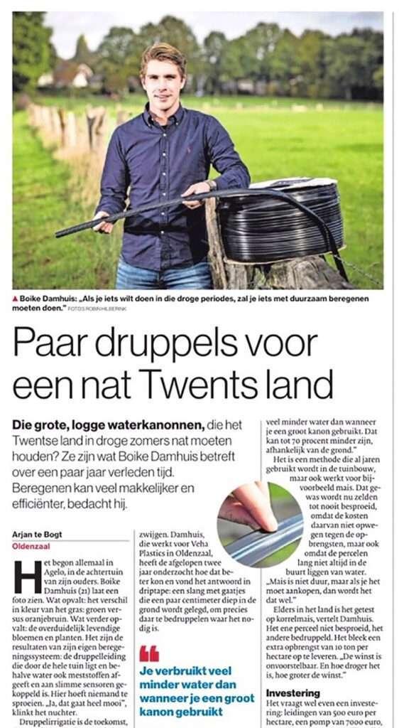 Druppelirrigatie voor de landbouw en akkerbouw - Duurzaam beregenen Veha Plastics - Boike Damhuis - Tubantia